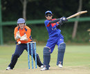 Nattakan Chantam hits the ball down the ground, Netherlands Women v Thailand Women, ICC Women's World T20 qualifiers, Group A, July 25, 2013