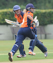 Miranda Veringmeier and Denise Hannema run between the wickets, Netherlands Women v Thailand Women, ICC Women's World T20 qualifiers, Group A, July 25, 2013