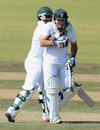 Dean Elgar is congratulated by Thami Tsolekile, South Africa A v Australia A, 1st unofficial Test, Pretoria, July 26, 2013