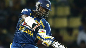 Thisara Perera ready to muscle the ball over the top