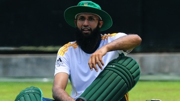 Hashim Amla pads up for a net session
