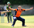 Esther de Lange during an appeal, Pakistan Women v Netherlands Women, ICC Women's World T20 Qualifiers, Group A, Dublin, July 27, 2013