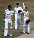 James Taylor raises his bat after reaching a century, Sussex v Australians, Tour match, Hove, 3rd day, July 28, 2013