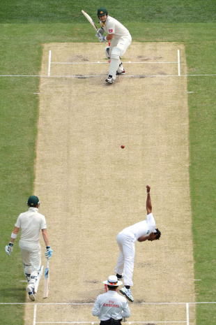Watson's front-foot lunge across the stumps is too big a target to miss