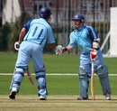 Pablo Ferguson is congratulated after reaching his fifty, Argentina v Vanuatu, ICC World Cricket League Division Six, St Clement, July 22, 2013