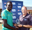 Saheed Akolade picked up six wickets, Bahrain v Nigeria, ICC World Cricket League Division Six, St Martin, July 25, 2013