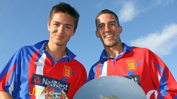 Ben Stevens and Peter Gough pose with the trophies