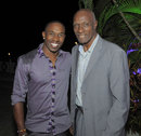 Dwayne Bravo poses with Sir Wes Hall, Caribbean Premier League, March 16, 2013