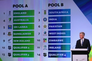ICC chief executive David Richardson unveils the two pools for the 2015 World Cup