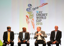 Kapil Dev, Sanath Jayasuriya, Ian Chappell and Dennis Lillee chat at the unveiling of the World Cup groups, Melbourne, July 30, 2013