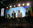 New Zealand PM John Key, Stephen Fleming, Waqar Younis and Grant Elliott chat at the unveiling of the 2015 World Cup groups, Wellington, July 30, 2013