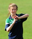 Lucy O'Reilly warms-up before the match, Ireland Women v Pakistan Women, ICC Women's World Twenty20 Qualifiers, 1st semi-final, Dublin, July 29, 2013