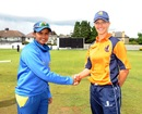Captains Shashikala Siriwardene and Denise Hannema during the toss, Netherlands Women v Sri Lanka Women, ICC Women's World Twenty20 Qualifiers, 2nd semi-final, Dublin, July 29, 2013