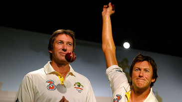 Glenn McGrath poses with a wax statue of himself at Madame Tussauds