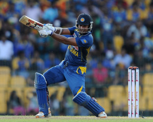 Kumar Sangakkara drives through the covers, Sri Lanka v South Africa, 5th ODI, Colombo, July 31, 2013
