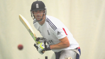 Kevin Pietersen bats in the nets