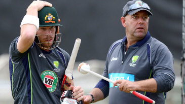 David Warner and Darren Lehmann at Australia's net practice