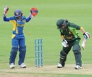 Nahida Khan was bowled for 8, Pakistan Women v Sri Lanka Women, ICC Women's World Twenty20 Qualifier, final, Dublin, July 31, 2013