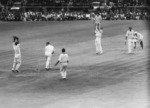 Peter May was done in by a legbreak that bowled him around his legs