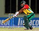 Ramnaresh Sarwan throws his bat at one, Guyana Amazon Warriors v Trinidad & Tobago Red Steel, Caribbean Premier League 2013, Providence, July 31, 2013