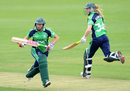 Isobel Joyce and Kim Garth were involved in a crucial 80-run stand, Ireland v Netherlands, ICC Women's World Twenty20 Qualifier, third-place playoff, Dublin, August 1, 2013