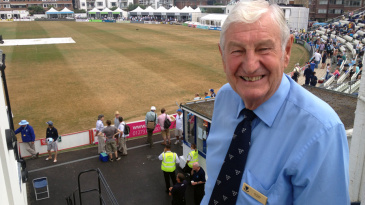 Jim Parks, the Sussex president and former England keeper-batsman, attends Australia's tour game