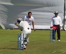 Mohammad Azam is bowled by Harvir Baidwan, Canada v United Arab Emirates, ICC Intercontinental Cup, 3rd day, August 3, 2013
