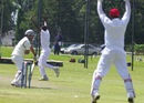 Jeremy Gordon dismisses Mohammad Naveed to complete his hat-trick, Canada v United Arab Emirates, ICC Intercontinental Cup, 3rd day, August 3, 2013