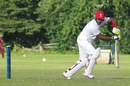 Damodar Daesrath steers the ball on the off side, Canada v United Arab Emirates, ICC Intercontinental Cup, 3rd day, King City, August 3, 2013