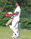 Damodar Daesrath celebrates his hundred, Canada v United Arab Emirates, ICC Intercontinental Cup, 3rd day, King City, August 3, 2013