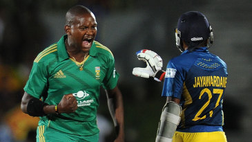 Lonwabo Tsotsobe is pumped up after dismissing Mahela Jayawardene