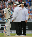 Michael Clarke chats animatedly with the umpires, England v Australia, 3rd Investec Test, Old Trafford, 4th day, August 4, 2013