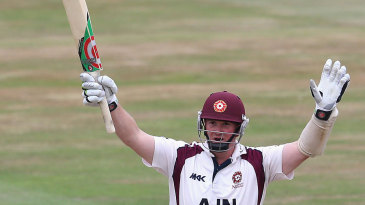David Sales celebrates his double hundred