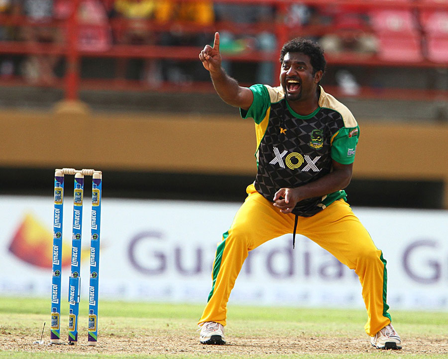 Muttiah Muralitharan picked up two wickets in an over ...