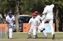 Afghanistan players celebrate the wicket of Pikky Ya France, Namibia v Afghanistan, ICC Intercontinental Cup, 1st day, Windhoek, August 4, 2013