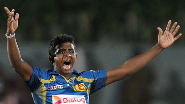 Ajantha Mendis appeals for an lbw