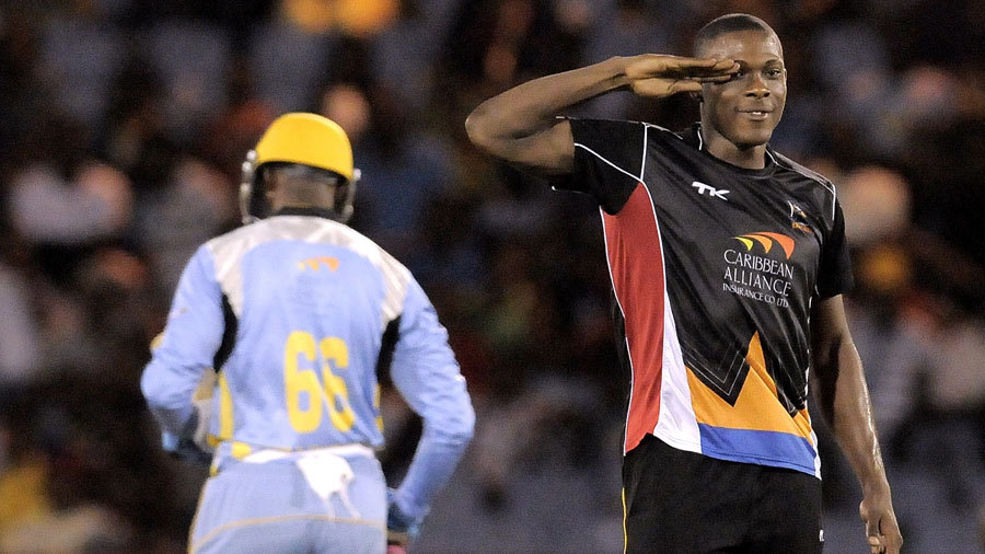 Military man Sheldon Cotterrell sends off a batsman with a salute