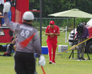 Jimmy Hansra holds on to one in the deep, Canada v UAE, ICC World Cricket League Championship, List A, King City, August 6, 2013