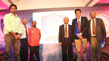 Javagal Srinath, Syed Kirmani, Gundappa Viswanath, and Anil Kumble at the KSCA platinum jubilee celebrations
