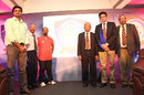 Javagal Srinath, Syed Kirmani, Gundappa Viswanath, and Anil Kumble at the KSCA platinum jubilee celebrations, Bangalore, August 7, 2013
