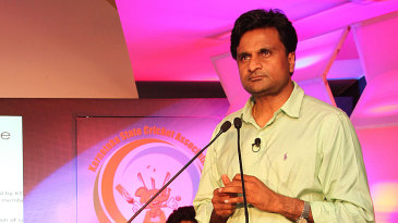 Javagal Srinath speaks at the launch of the KSCA platinum jubilee celebrations
