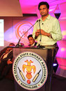 Javagal Srinath speaks at the launch of the KSCA platinum jubilee celebrations, Bangalore, August 7, 2013