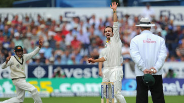 Nathan Lyon had Jonathan Trott caught at short leg