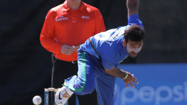 Afghanistan fast bowler Dawlat Zadran in his delivery stride