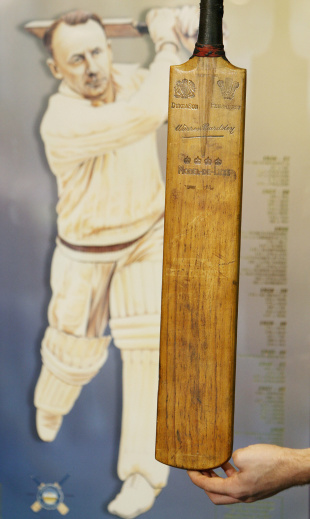 The first bat Don Bradman used in his Test career is to be auctioned off in Melbourne, September 24, 2008