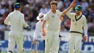 Jackson Bird is congratulated after dismissing James Anderson