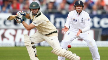 Chris Rogers drives the ball square