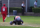 Mohammad Azam goes down on his knees after completing a half-century, Canada v United Arab Emirates, 1st T20, Toronto, August 10, 2013