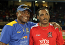 Desmond Haynes and Gordon Greenidge follow the action, Caribbean Premier League, Port-of-Spain, August 11, 2013