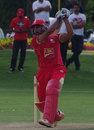 Raza-ur-Rehman lofts the ball straight, Canada v United Arab Emirates, 2nd T20, Toronto, August 11, 2013